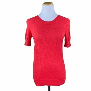 J. Crew Factory Red Short Sleeve Knit Sweater